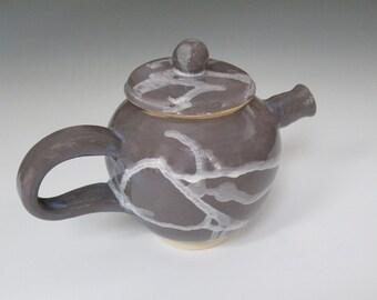 "Charcoal Gray Teapot with White Splash 5"" H X 7 1/2"" W"