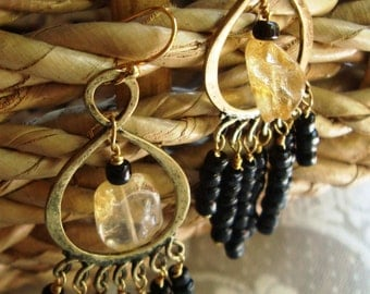 Antiqued Hammered Brass with Citrine and Black Chandeliers - Earrings from Boho Collection, Primitive, Hippie, Folky, Black, Gold, Yellow