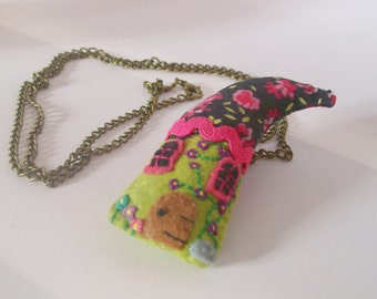 Fairy Felted House Necklace