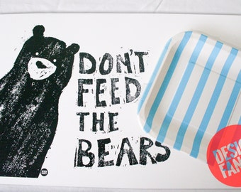 Black Don't Feed the Bears placemat- 11x17in
