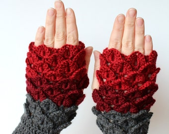 Hand Crocheted Fingerless Gloves, Gift Ideas, For Her, Gloves & Mittens, Grey, Red,Crocodile Stitch