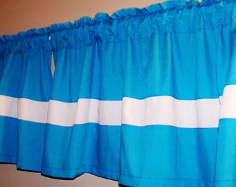 TURQUOISE COLOR BLOCK Valance. Window Curtain, kids,  Valance, baby's, bedroom curtain, Bathroom curtain, anywhere you want. Great gift idea