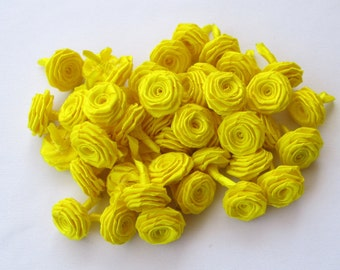50 Ribbon Origami Roses - Yellow color, 8.00 usd