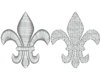 Two SMALL Fleur de Lis Machine Embroidery Designs, 2 stitch types- satin and fill, Fleur de Lis embroidery, mardi gras embroidery design