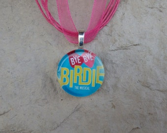 Broadway Musical Bye Bye Birdie Circle Glass Pendant and Ribbon Necklace
