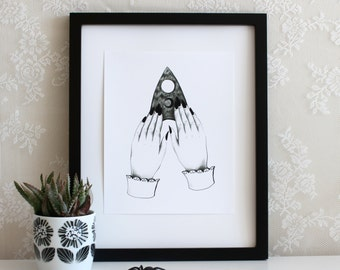 Ouija Planchette Hands Halloween 5x7 or 8x10 Wall Art Print, Gift, Poster, Drawing