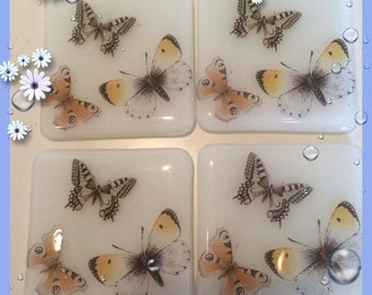 fused glass butterfly coasters set of 4