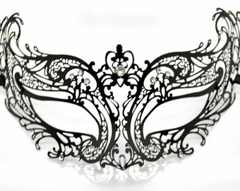 Stunning Laser Cut Masquerade Mask Costume Extravagant Inspire Design with Clear Crystals Black or Gold