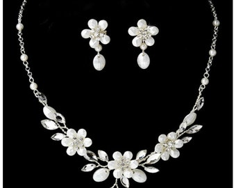 Romantic Silver Floral Necklace and Earring Set