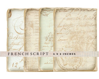 Shabby French Script digital collage sheet 6x4 inches printable background shabby chic ephemera card for scrapbooking and other crafts