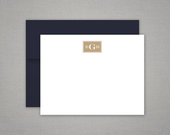 Personalized Stationery Flat Notes with Masculine Monogram - Personalized Stationary