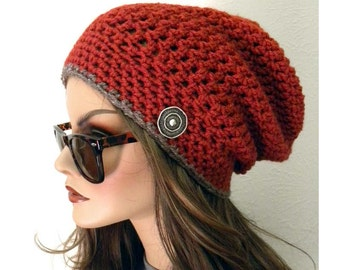 Slouchy Beanie, Hat, Bohemian Chic, Hand Crocheted, Beanie, winter hat, Brick Red, Hat with Button, Accessories, Women, Teens Fashion
