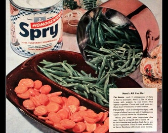 1954 Spry Shortening Ad with Vegetables - Wall Art - Kitchen Decor - Retro Vintage Food Advertising