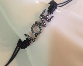 gift idea, love bracelet. macrame bracelet. black bracelet. handmade bracelet.