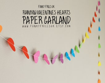 Rainbow Valentines Hearts Paper Garland