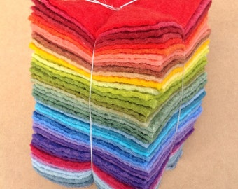 Felt Tower, 48 pieces of Hand Dyed Wool and Viscose Felt coloured across the spectrum, Felt Selection, UK Seller, British Supply
