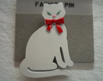 Vintage Signed JJ  White Cat with Red Bow Brooch/Pin