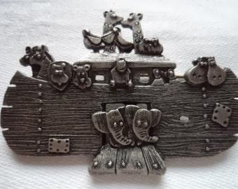 Vintage Signed Danecraft Dark Silvertone Noahs Ark Brooch/Pin