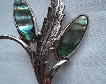 Vintage Signed Exquisite Silvertone Abalone Flower Brooch/Pin