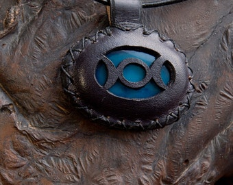 Triple Goddess Leather Wrapped Blue Agate Pendant