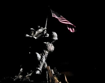 Marine Corps WWII Iwo Jima Memorial Statue Arlington National Cemetery Washington DC National Monument  Flag Raising - Fine Art Print