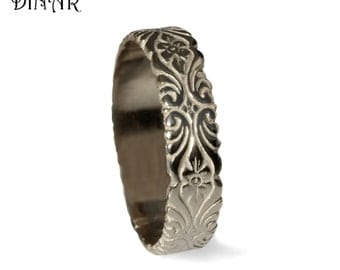 14k white Gold Wedding Band Art Deco Hand Engraved Floral pattern, scrolls band, men wedding band, women gold wedding ring engraved flowers