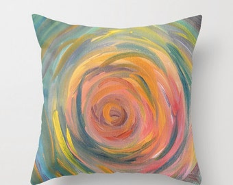 Artistic Throw Pillow Original Art / Colorful Pillow / Several Sizes