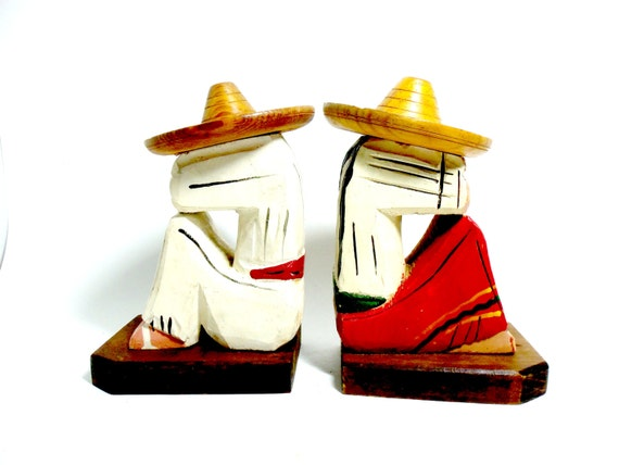 Bookends, Mexican Siesta Wooden Bookends, Mexican Folk Art Bookends, Sleeping in Sombrero, Wood Bookends