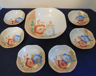 Lusterware Serving Bowl w/ 6 Individual Bowls, Peach Highlights and Floral Pattern, Beautiful Lusterware China Bowl Set, Excellent Condition