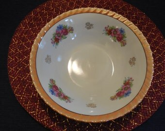 Lusterware Floral Serving Bowl- Large Lusterware Bowl with Floral Pattern and Peach Edges, REMARKABLE Condition- No Crazing or Chips. LOVELY