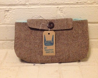 Price Reduced ** Handcrafted, Upcycled Tweed Clutch ~ FREE SHIPPING!! ~ The Bearded Sartor