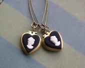 Cameo Heart Locket Earrings  Black And White Cameo Locket Earrings Valentine's Gift