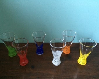 Colored shot glasses set of 6 with under plate