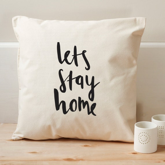 Lets Stay Home Cushion Cover Illustrated Canvas Cotton