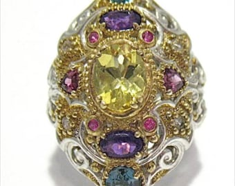 Dramatic Sterling Silver Gold Multi Stone Ring Size 7  9.6 Grams 32 MM Wide #862