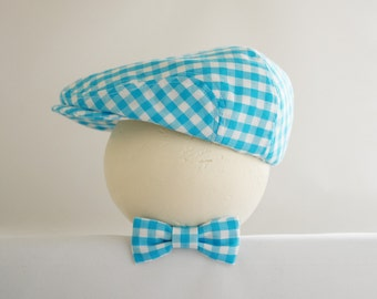 3 months photo prop, turquoise blue gingham check hat and bow tie, turquoise baby hat for spring- made to order