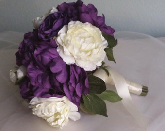Purple Ivory Peonies Roses Wedding Bridal Bouquet Silk Flowers Crystals Wedding Accessory