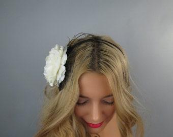 Ivory Black Bridal Headband  Wedding Accessory Silk Flowers Bridal Accessory Ivory Wedding Headband Girl Hedband