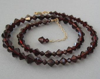 Genuine Swarovski, Garnet Strand Necklace, Garnet Swarovski, Crystal Necklace, Gold Filled, Burgundy Necklace, Wedding Jewelry - DK375