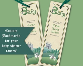 "Custom Knight and Dragon Bookmarks || Baby Shower, Birthday Party Favors || Instant Download Printable File || prints 8.5""x2.75"" on 8.5""x11"""
