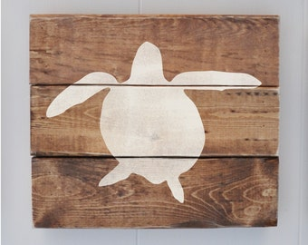 Beach Decor Sign, Coastal Decor, Beach House, Beach Wedding Decoration, Vintage Wall Decor, Sea Turtle