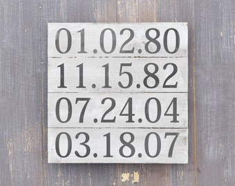 Important Date Sign, 5th Anniversary gift, Rustic Wood Plank Sign, Special Dates Decor, Home Decor, Wall Art