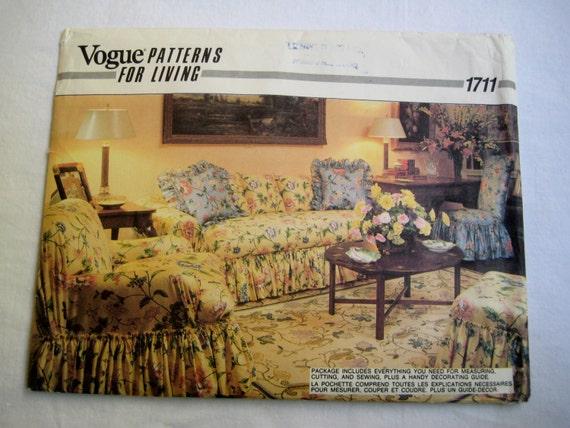 Patron de couture vogue housses canap chaise oreillers - Patron housse de canape ...