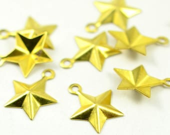 100 Pieces Raw Brass 13x15 mm Star Findings