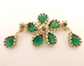 Rare Juliana D & E Emerald Green Caged Framed Rhinestone Brooch and Earring Set
