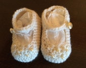White Christening Baby Booties