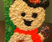 Vintage Popcorn Plastic Snowman Decor