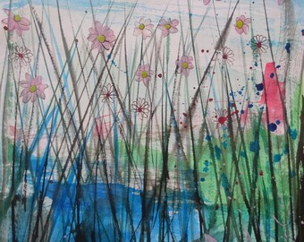 Pink Daisies - Flowers - Wall Art - Watercolour - Pen and Ink Drawing - Abstract Flower - Painting Flower Art Original Painting UK Art