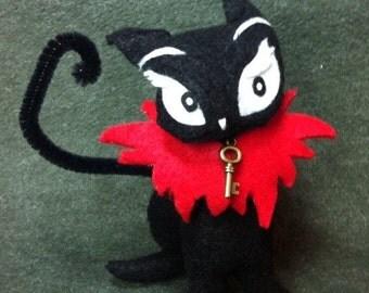 "Gloomsville Manors very own 4-inch Ruby Gloom's pet ""Doom Kitty"" soft wool felt doll by Elizabeth Ireland"