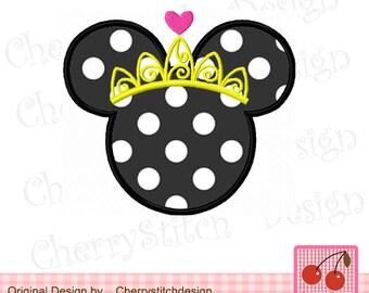 Princess Minnie Machine Embroidery Applique Design -for 4x4 5x7 6x10 hoop
